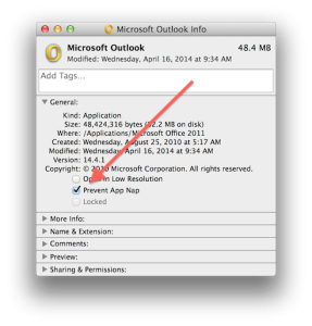 OutlookAppNap